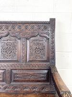 Antique 19th Century Carved Oak Settle (7 of 10)