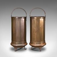 Pair of Antique Stick Stands, Brass, Umbrella Rack, Fireside Bin, Victorian (2 of 12)