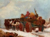 'The Loggers Return Home' Superb Antique Winter Landscape Oil on Canvas Painting (8 of 12)
