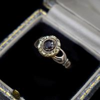 Antique Fede Claddagh Double Hand Garnet Gold Ring (3 of 8)