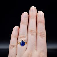 Vintage Cabochon Blue Paste 9ct 9K Yellow Gold Signet Ring (8 of 10)
