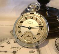Vintage Pocket Watch 1955 Services Army Two Tone Dial Chrome Case FWO (5 of 10)