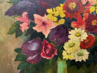 Large 19th Century French Farmhouse Impressionist Still Life Floral Oil Painting Signed (10 of 12)