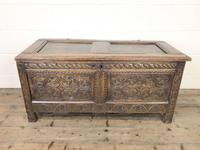 Antique 17th Century Carved Oak Coffer (2 of 10)