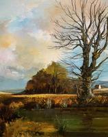 Large Magnificent Extensive Vintage Autumn Country Landscape Oil Painting (5 of 13)