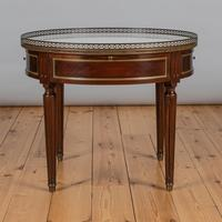 French Large Circular Mahogany Coffee Table With Inserted Marble Top