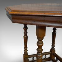 Antique Lamp Table, English, Walnut, Octagonal, Side, Games, Edwardian c.1910 (5 of 10)