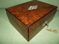 QUALITY Inlaid Figured Walnut Jewellery Box + Tray c.1870 (3 of 14)