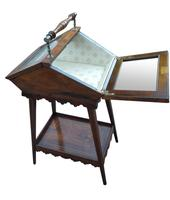 Attractive & Unusual Victorian Rosewood Display Cabinet c.1890 (2 of 3)