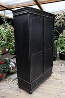 Gorgeous! Large Old Victorian Pine & Black Painted Hall Cupboard / Wardrobe - We Deliver! (7 of 10)