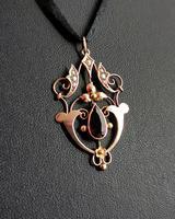 Antique Art Nouveau Pendant, 9ct Gold, Pearl & Garnet (5 of 7)