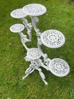 Victorian 19th Century Garden Cast Iron Painted White 6 Branch Plant Stand (23 of 47)