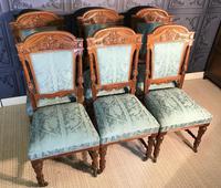 Quality Set of Six Walnut Dining Chairs