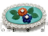 0.55ct Diamond, Malachite, Coral & Jade Brooch - Vintage c.1960 (7 of 9)