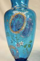 Pair of Antique Pale Blue Glass Decorated Vases (5 of 8)