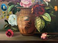 Striking Early 1900s Antique Large Floral Display Oil on Canvas Painting (8 of 12)