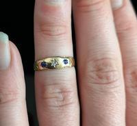 Antique Victorian Sapphire & Diamond Ring, 15ct Gold (10 of 12)
