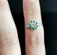 Vintage Art Deco Flower Ring, 9ct Gold & Silver, Emerald Paste (11 of 11)