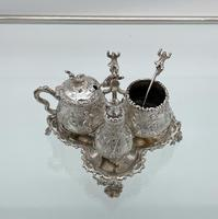 Antique Victorian Sterling Silver Condiment Set on Stand London 1879 George Fox (2 of 11)