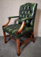 Green Leather Georgian Style Chesterfield Gainsborough Library / Office Chair (2 of 8)