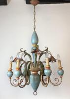 Large Vintage French 6 Arm Polychrome Toleware Ceiling Light Chandelier (9 of 16)