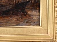 "Oil Painting Richard Henry Nibbs ""Moonlight at Arnheim"" (4 of 5)"
