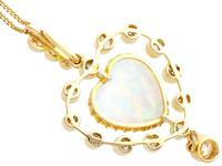 5.48ct Opal & 2.91ct Diamond, 15ct Yellow Gold Heart Pendant - Antique c.1910 (5 of 9)