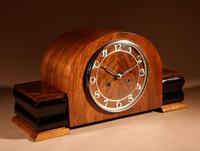 Art Deco Walnut & Ebonised Mantel Clock c.1930 (5 of 7)