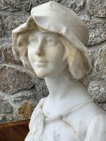 Alabaster Bust of Young Girl Wearing a Bonnet (6 of 25)