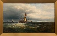 Framed Oil on Canvas Entitled 'Portsmouth Harbour' by M. M. Jacobi (2 of 4)