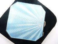 Art Deco Sterling Silver & Blue Guilloche Enamel Compact Mirror (5 of 8)