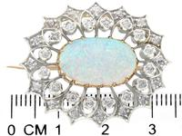 2.99 ct Opal and 0.96 ct Diamond, 9 ct Yellow Gold Brooch - Antique Victorian (3 of 9)