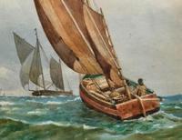Att: William Boyce 19th Century Sailing Smack Seascape Watercolour Painting (7 of 11)