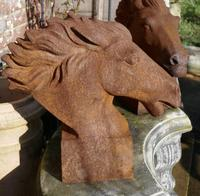 Pair of Large Outdoor Weathered Cast Iron Horse Heads (6 of 7)