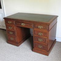Oak Pedestal Desk - Edwardian (3 of 8)