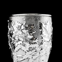 Antique Victorian Solid Silver Beaker / Cup with Superb Naturalistic Grapevine Design - Barnard 1871 (4 of 16)
