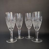 Four Waterford 'Colleen' Tall Stem Crystal Champagne Flutes