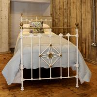 Antique White Decorative Brass & Iron Victorian Single Bedstead (2 of 7)