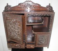 Antique Japanese Carved Wood Tabletop Cabinet c.1900 (8 of 15)
