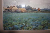 Antique Original Watercolour - Hamlet with Crop Field - Mary Sophia Godlee '1860-1932' (5 of 6)