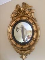 Fine Irish Regency Gold Giltwood Convex Mirror with Eagle Crest (6 of 6)