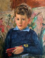 'Boy with Toy' Thomas Sherwood La Fontaine Superb Oil Portrait Painting (10 of 13)
