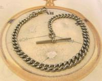 Antique Pocket Watch 1890s Victorian Large Silver Nickel Graduated Albert (4 of 11)