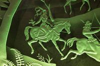 Magnificent Art Deco Illuminated Etched & Engraved Very Large Glass Wall Decoration (4 of 13)