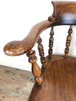 Antique 19th Century Ash & Elm Smokers Bow Chair (4 of 12)