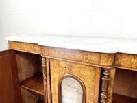 Victorian Inlaid Walnut Credenza with Marble Top (7 of 10)