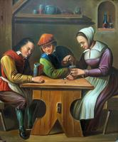 Early 19th Century Dutch School Drinking in a Tavern Oil on Panel Portrait Painting (2 of 11)