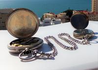 Victorian Solid Silver Omega Gurzelen Pocket Watch & Solid Silver Albert Chain (3 of 8)