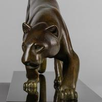 Wonderful French Art Deco Bronze Sculpture Of A Prowling Panther. Signed I. Rochard (5 of 10)