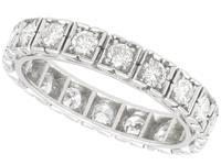 1.62ct Diamond & 18ct White Gold Full Eternity Ring - Vintage French c.1940